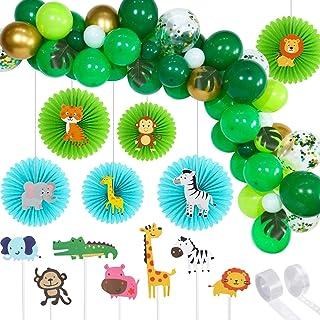 Suministros de Fiesta de Tema de Safari en Jungla Incluyes Guirnalda de Globos de Selva Verde Abanico Colgante de Papel Animal de Selva Topper de Magdalena Hojas de Palma Verde para Cumpleaños