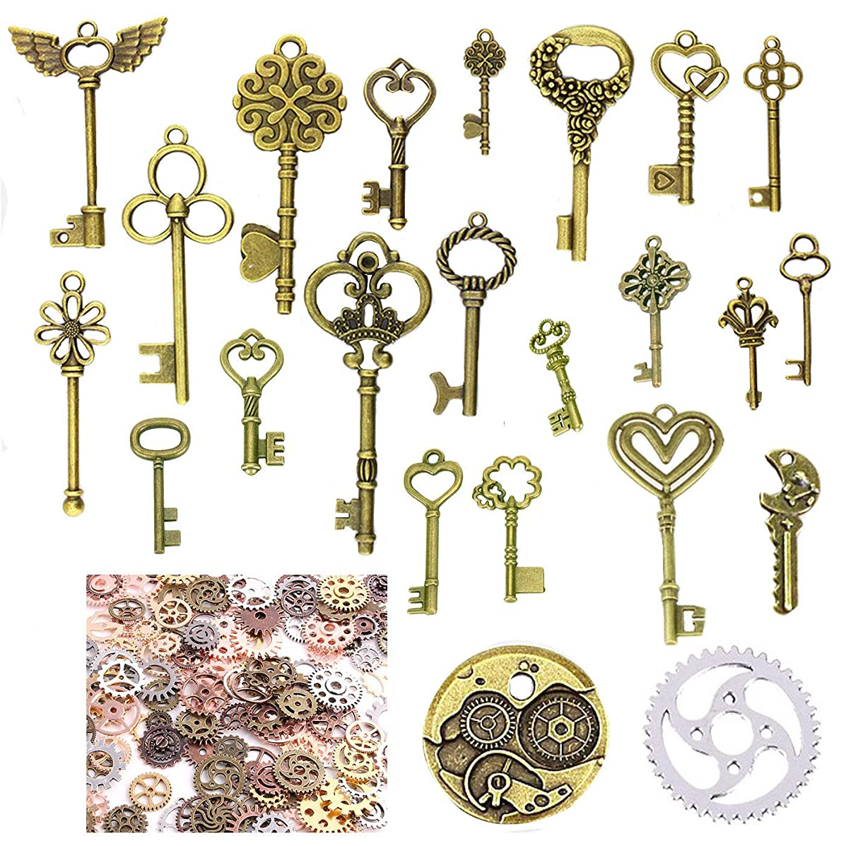150 Gram Antique Bronze Vintage Skeleton Keys Steampunk Gears Cogs Charms Pendant Clock Watch Wheel for Jewelry Making Supplies, Steampunk Accessories, Craft Projects, Assorted Designs and Sizes