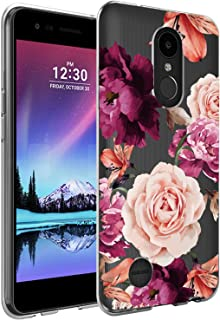 LG K20 Plus Case, LG K20 V Case with Flowers, BAISRKE Slim Shockproof Clear Floral Pattern Soft Flexible TPU Back Cove for LG K20 Plus/LG K20 V/LG K20/LG K10/LG LV5 [Purple Pink]