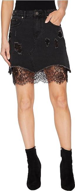 Distressed Denim Mini Skirt w/ Lace