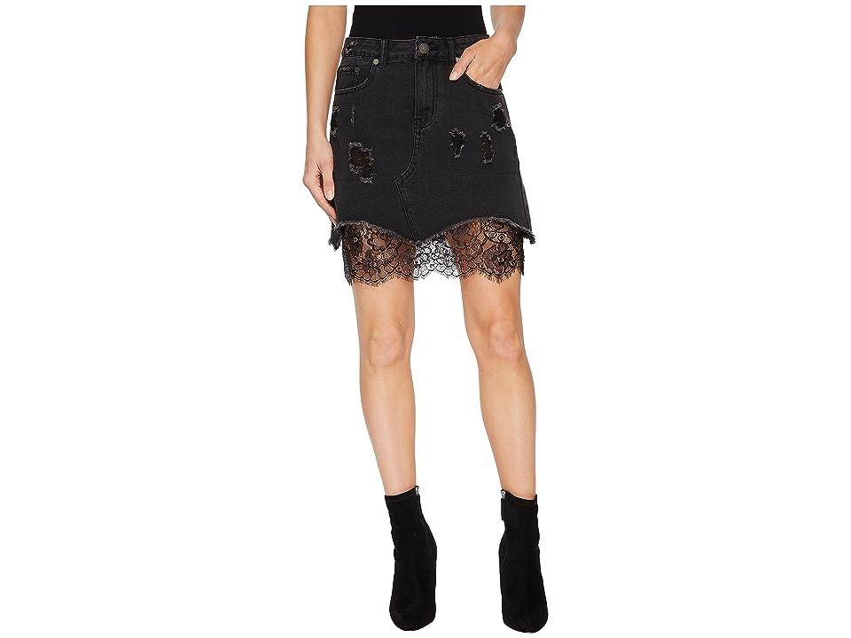 ROMEO & JULIET COUTURE Distressed Denim Mini Skirt w/ Lace (Black) Women