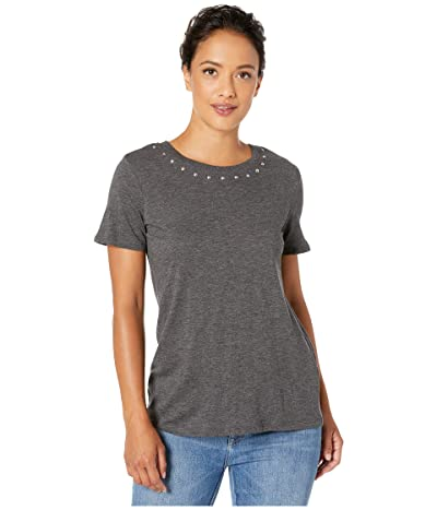 Vince Camuto Short Sleeve Studded Crew Neck Tee (Medium Heather Grey) Women