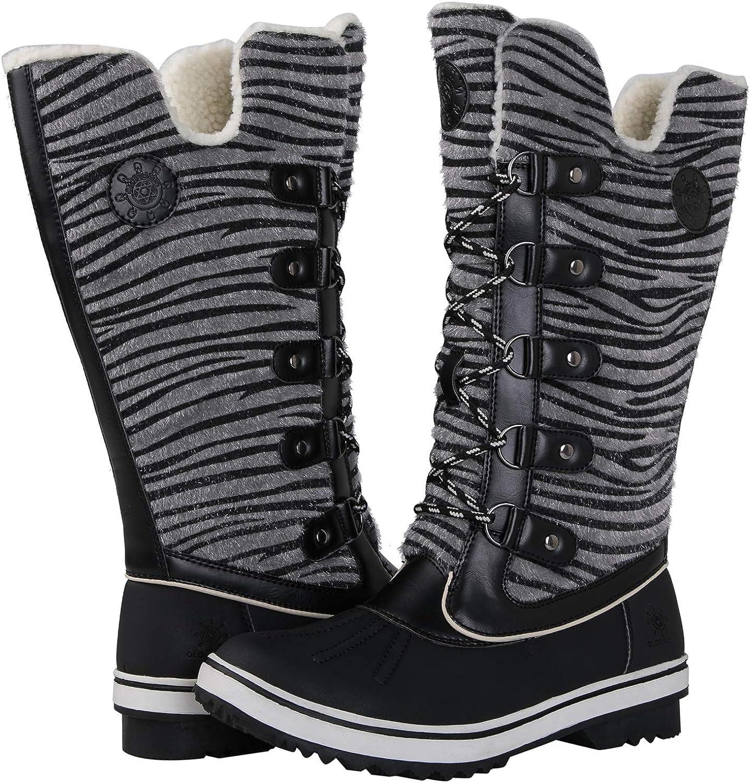 GLOBALWIN Women's Black Zebra Stripe Winter Snow Boots 7M US