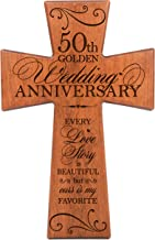 LifeSong Milestones 50th Wedding Anniversary Cherry Wood Wall Cross Gift for Couple,50th for Her,50th Wedding for Him Every Love Story is Beautiful but Ours is My Favorite # 62868