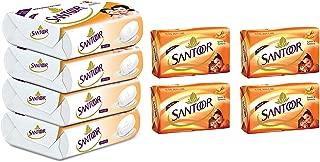 Santoor Sandal and Almond Milk Soap (Buy 4 Get 1 Free 125g each) & Santoor Sandal and Turmeric Soap, 150g (Pack of 4)