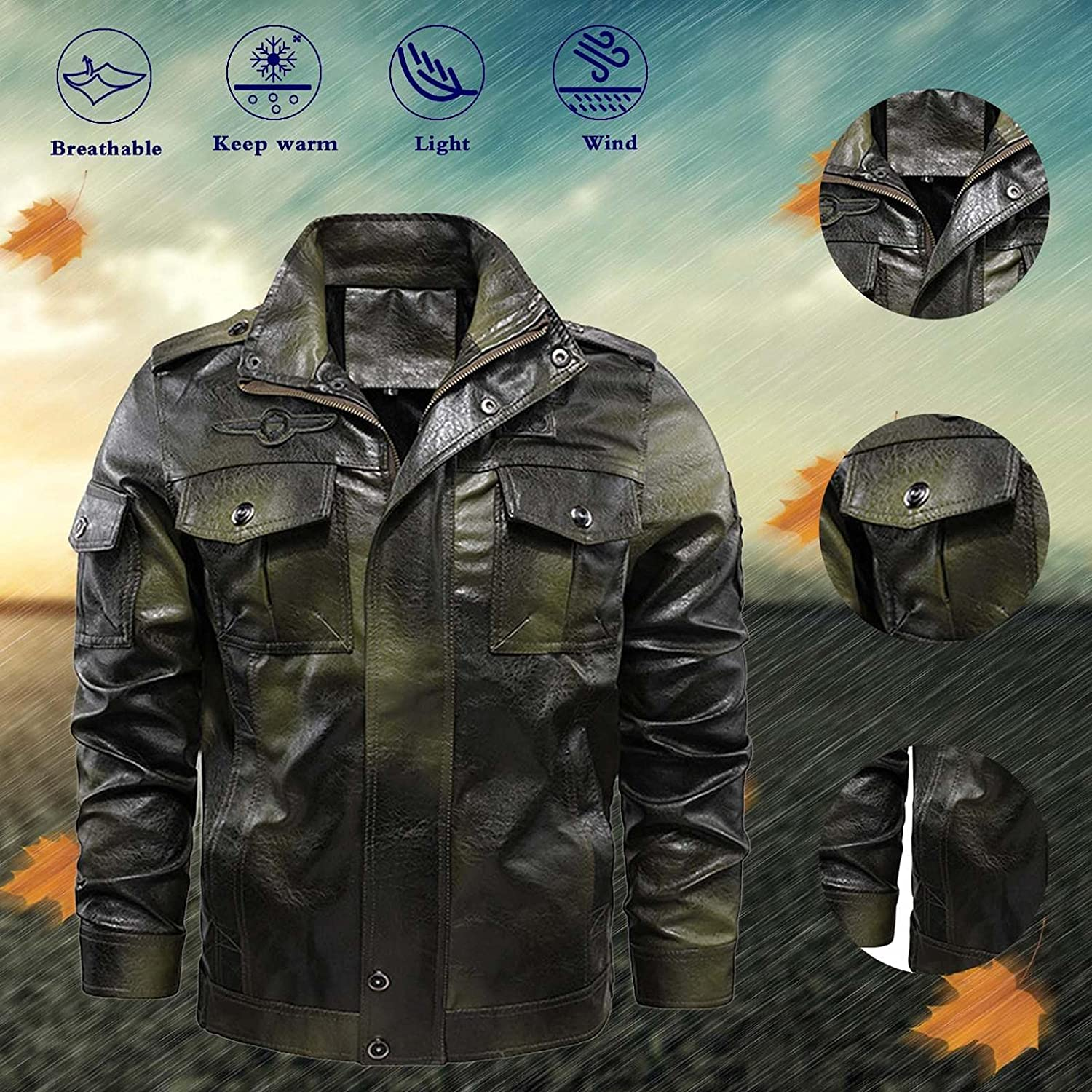 PHSHY Mens Vintage Faux Leather Jacket Coat Motorcycle Bomber Jacket Casual Stand Collar Zip Up Lightweight Outwear
