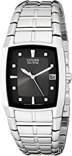 Men's Eco-Drive Stainless Steel Watch with Black Dial