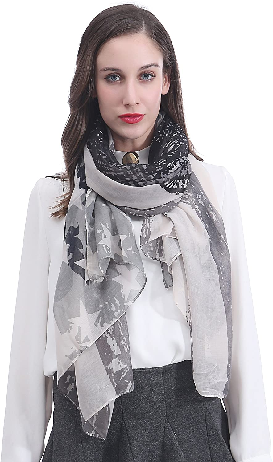 Lina & Lily Vintage Skull American Flag Print Long Scarf for Women Lightweight
