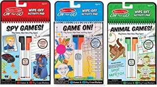 Melissa & Doug On The Go Wipe-Off Activity Pad Dry-Erase Games 3 Pack (Spy, Animal, Game On!), Multi (97075)