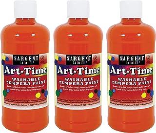 Sargent Art Orange Art-Time Washable Tempera Paint, 3 Count