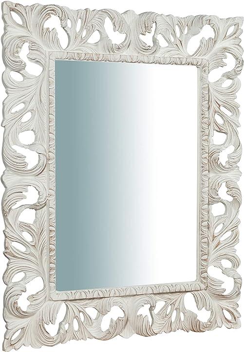 Specchio specchiera parete in verticale o orizzontale stile shabby in legno con finitura bianca l82xpr6xh101cm 3000005170231