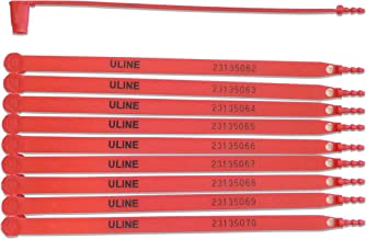 Uline Plastic Truck Seals | Tamper Evident; Each Seal is Numbered Sequentially; Use for Truck, Trailer, Container | Pack of 100 (Red)