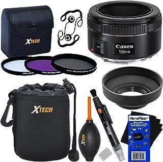 Canon EF 50mm f/1.8 STM Lens for Canon SLR Cameras (International Version) + 3pc Filter Kit (UVFL-DCPL) + 8pc Bundle Accessory Kit w/ HeroFiber Ultra Gentle Cleaning Cloth