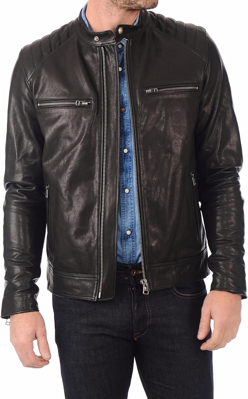 Men's Leather Jacket Motorcycle Bomber Biker Genuine Lambskin Leather 365