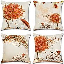 أغطية وسائد الخريف 45.72 × 45.72 سم مجموعة من 4 مابل ليف مزرعة عيد الشكر أغطية وسائد للزينة للأريكة والسرير والديكور المنزلي
