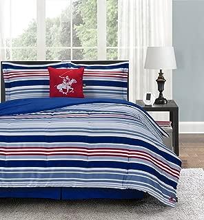 Beverly Hills Polo Club Blue Stripe Luxury Soft Microfiber Comforter Set, Queen, 5 Piece