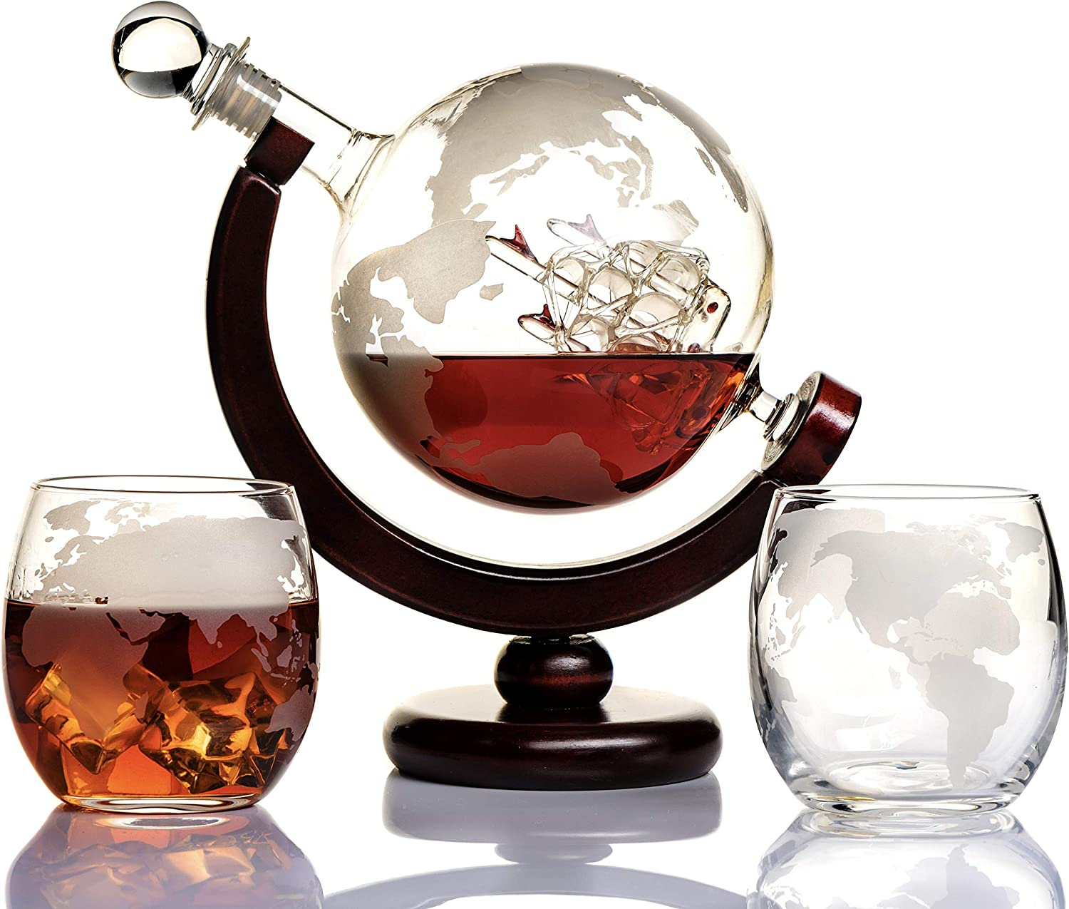 Whiskey Globe Decanter Set Now free Quantity limited shipping Etched Liquo World for