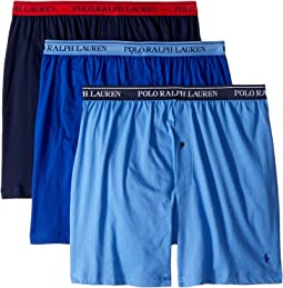 bec267d60a77 Polo Ralph Lauren. Classic Fit w/ Wicking 3-Pack Knit Boxers. $42.50.  Aerial Blue/Rugby Royal/Cruise Navy