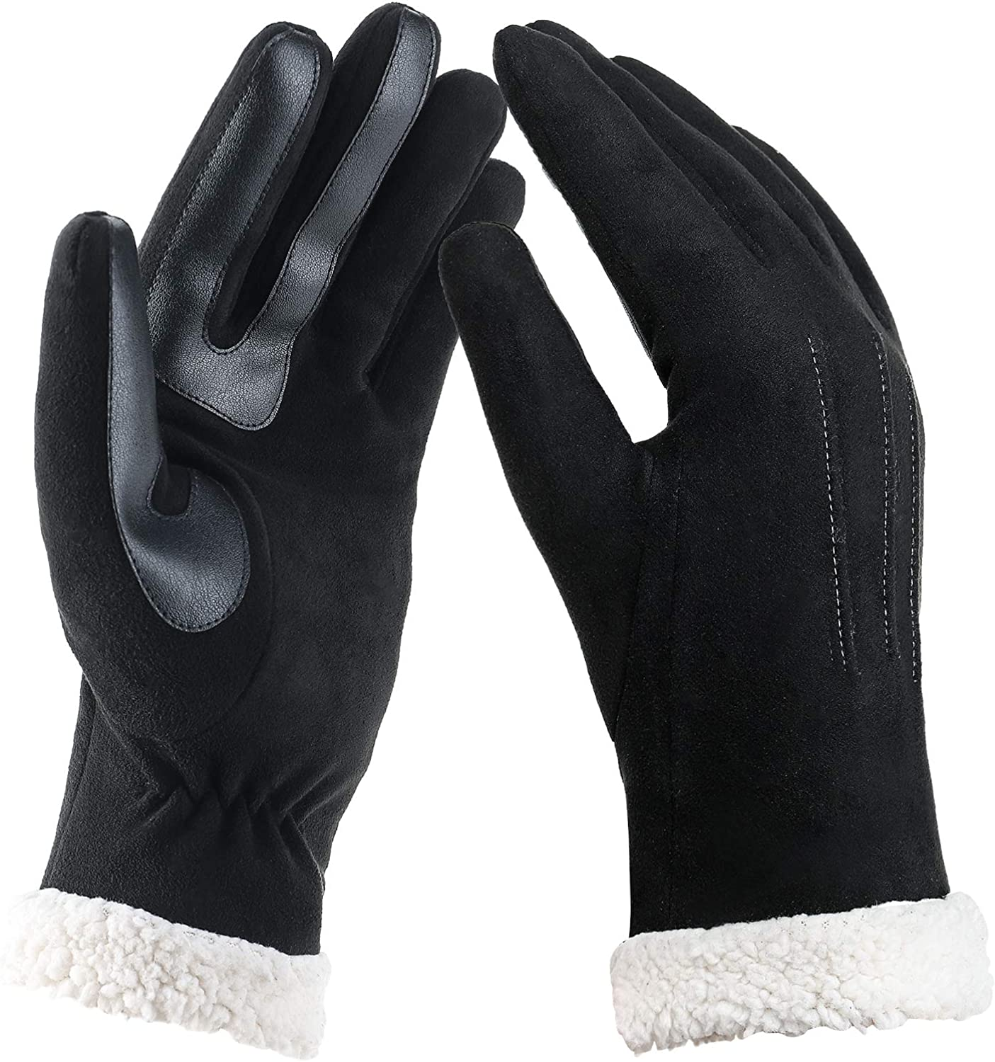 WANSIHE Winter Warm Touchscreen Thick Gloves for Women,Soft and Stretch Microsuede Soft Suede Plush Driving Gloves