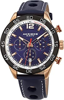 Chronograph Complications Men's Watch - 3 Subdials with Date Window On Perforated Leather Strap with White Stitching Strap - AK1097