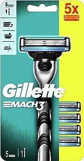 Gillette Mach3 Rączka maszynki do golenia dla mężczyzn + 5 ostrzy wymiennych, z ostrzami twardszymi niż stal