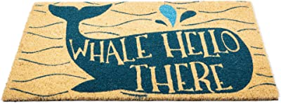 DII CAMZ11135 Indoor/Outdoor Natural Coir Easy Clean Rubber Non Slip Backing Entry Way Doormat for Patio, Front, Weather Exterior Doors, 18x30, Whale Hello There