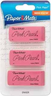 Paper Mate Pink Pearl Erasers, Large, 3 Count (70501)