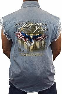 Men's Sleeveless Denim Shirt USA Flag American Pride Black