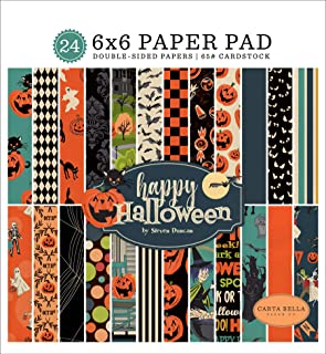 Carta Bella Paper Company CBHAL104023 Happy Halloween 6 x 6 Pad Papel, Naranja, Negro, Azul, Azul Marino