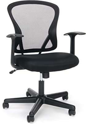 OFM ESS Collection Swivel Mesh Task Chair with Arms, Mid Back, 25.25in. D x 25.25in. W x 33.75in. - 37.50in. H, Black
