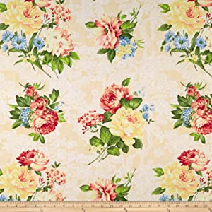 Santee Print Works Romantique Digital Print Floral Fabric, Ivory/White, Fabric By The Yard