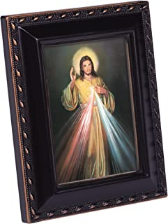 Cottage Garden Divine Mercy Painting of Jesus Black Rope Trim Tiny Frame with Magnet and Easel