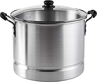 IMUSA USA MEXICANA-424 Aluminum Steamer with Glass Lid 24-Quart, Silver