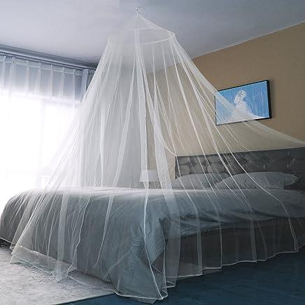 Sekey Moustiquaire pour Lits Simples/Doubles | Écran de Protection Anti-Insectes | Kit de Suspension Complet Baldaquin | Système d'installation Rapide et Facile