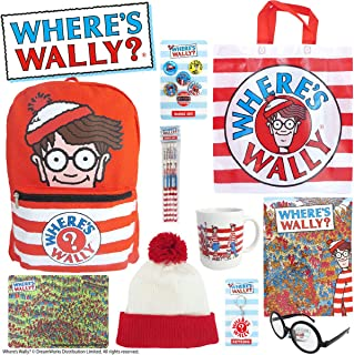 Where's Wally Showbag Gift Pack with Backpack Notebook Wheres Wally Costume Accessories Beanie Glasses – Waldo Show Bag fo...