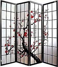 FAMIROSA Paravento Pieghevole 3 Pannelli Stile Giapponese 120x170cm Nero