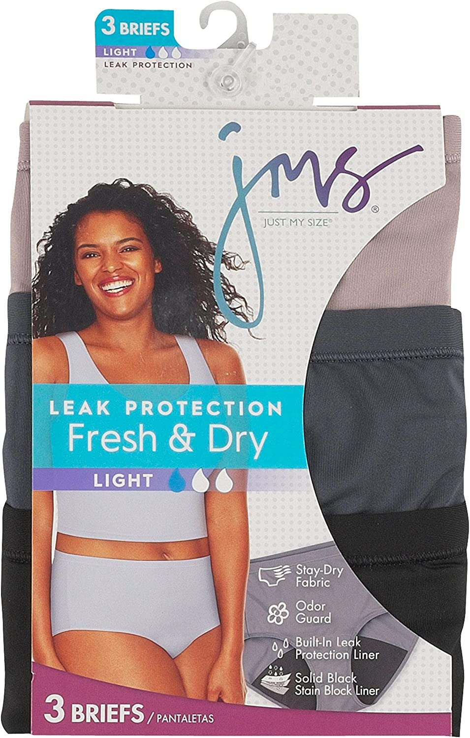 JUST MY SIZE Women's Fresh & Dry 3-Pack Plus Size Briefs