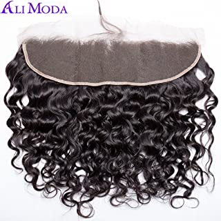 Ali Moda 13X4 Water Wave Ear To Ear Malaysian Lace Frontal with Baby Hair Bleached Knots Human Hair Natural Color 10 inch