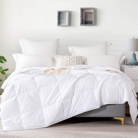 L LOVSOUL Goose Down Comforter Queen Lightweight Comforter Duvet Insert 100% Cotton 1200 Thread Count White Comforter 90x90Inches