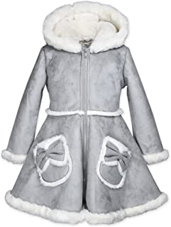 Widgeon Girls' Bow Pocket Hooded Faux Suede Coat 3726