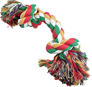 Downtown Pet Supply Natural Cotton Non-Toxic Dye Knotted Rope Chew Tug Toy for Dogs, Multi-Colored, Medium-Large