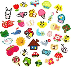 Czorange 39pcs Cute Iron On Patches Kids Small Decorative Patches Sewing On for Clothes Jackets Hats Backpacks Jeans, Flow...