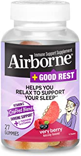 Vitamin C Blend + L-Theanine & Vitamins Good Rest - Airborne Very Berry Gummies (27 count in a bottle), Immune Support Sup...