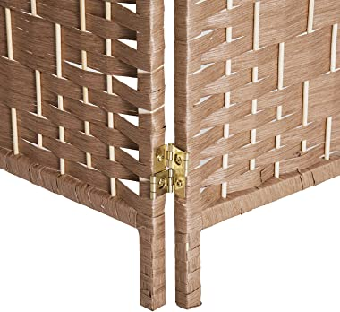 HOMCOM 6' Tall Wicker Weave 4 Panel Room Divider Privacy Screen - Natural Blonde Wood