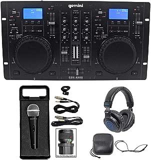 Gemini CDM-4000 2 Ch. Dual DJ Mixer Media Player MP3/CD/USB+Headphones+Mic+Cable