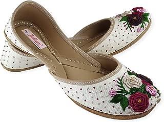 Fulkari Moonshine Multicolored Women's Genuine Soft Leather Punjabi Jutis Flat Ladies Jutti Ethnic Mojari Shoe