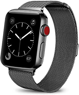 Smartwatch Bands for Apple Watch Band 42mm 44mm, Milanese Loop Band Stainless Steel Adjustable Magnetic Closure Replacement Mesh Wristband Loop Compatible with iWatch Series 4 3 2 1, Black