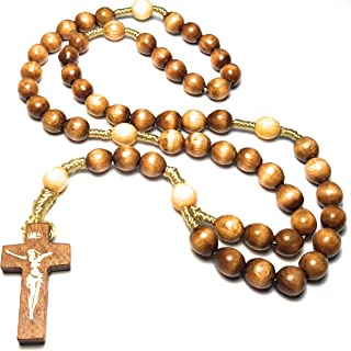 Holy Relic Rosary Touched to First Class relics of St Faustina St Padre Pio & St John Paul JP 2 for Peace Health & Happiness Rosario tocado a reliquias de Primera clase paz salud felicidad (Brown)