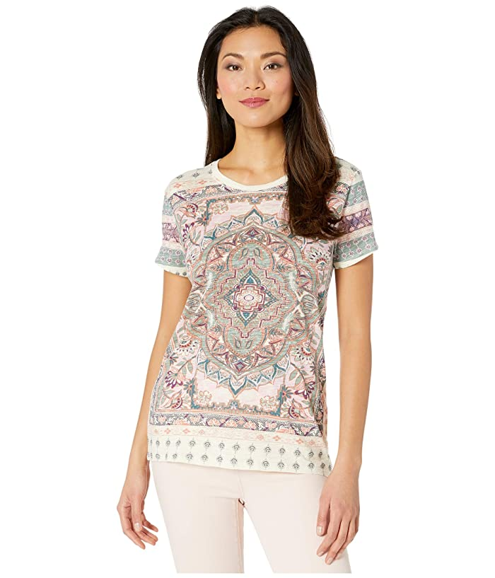 Lucky Brand  Short Sleeve Crew Neck All Over Floral Paisley Tee (Lucky White) Womens Clothing