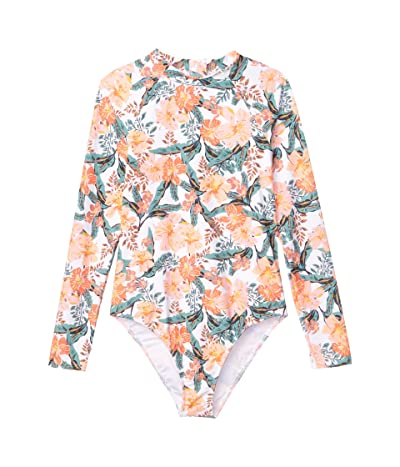 Roxy Kids Love is Big Long Sleeve Lycra One-Piece Swimsuit (Big Kids) (Bright White Heavy Tropic) Girl